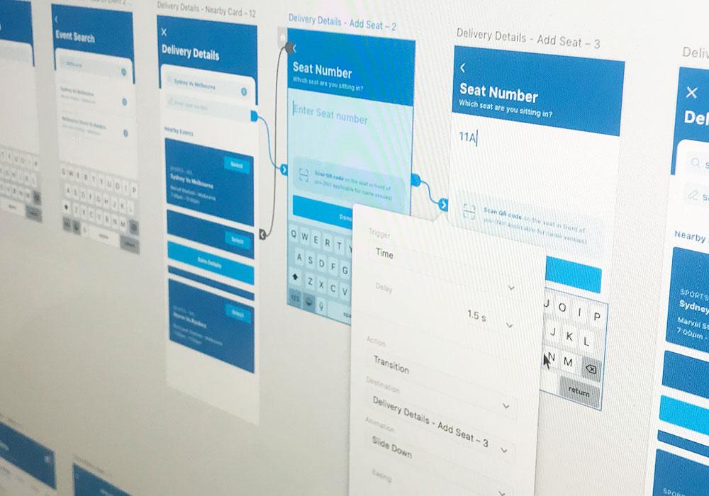 Mobile app UX design wireframes