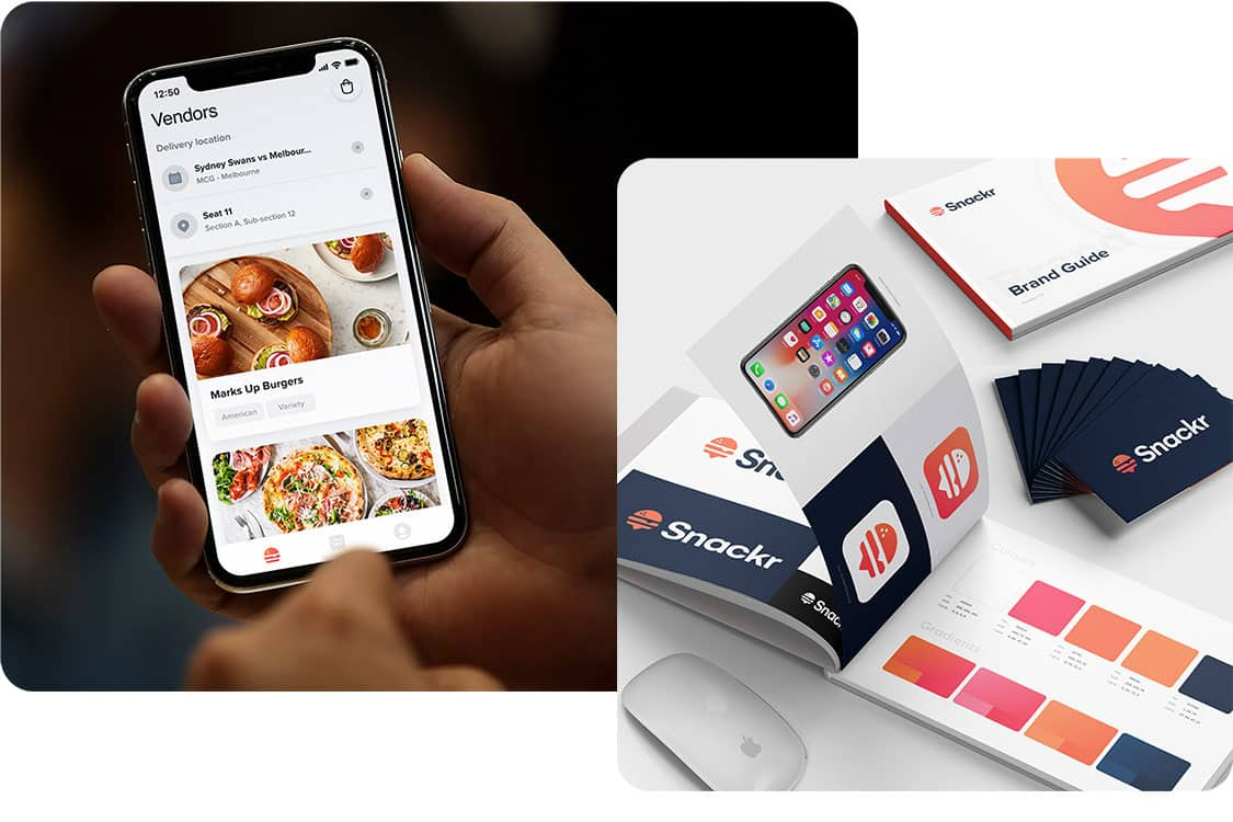 Snackr App Design Prototype and app brand design