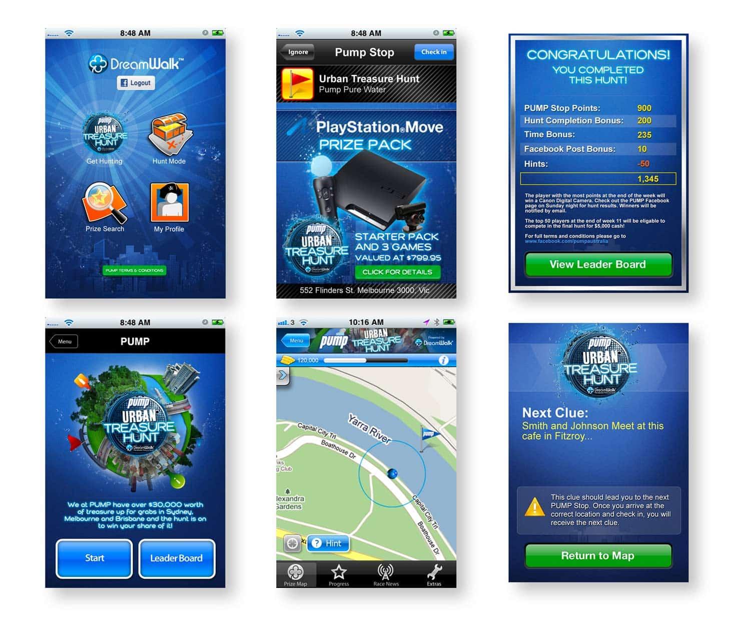 Pump Urban Treasure Hunt UI designer