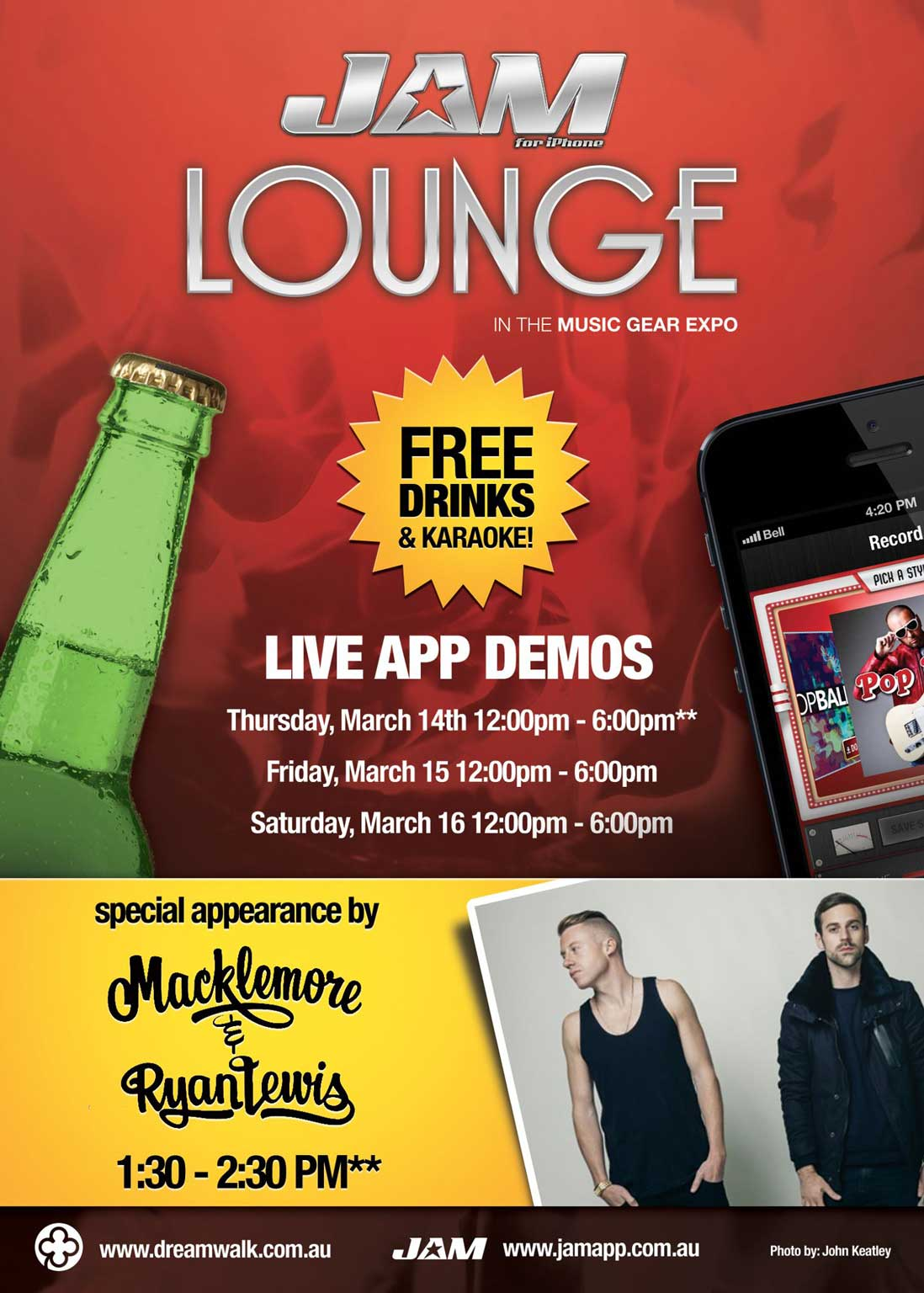 Jam iphone app promotion Macklemore sxsw Flyer