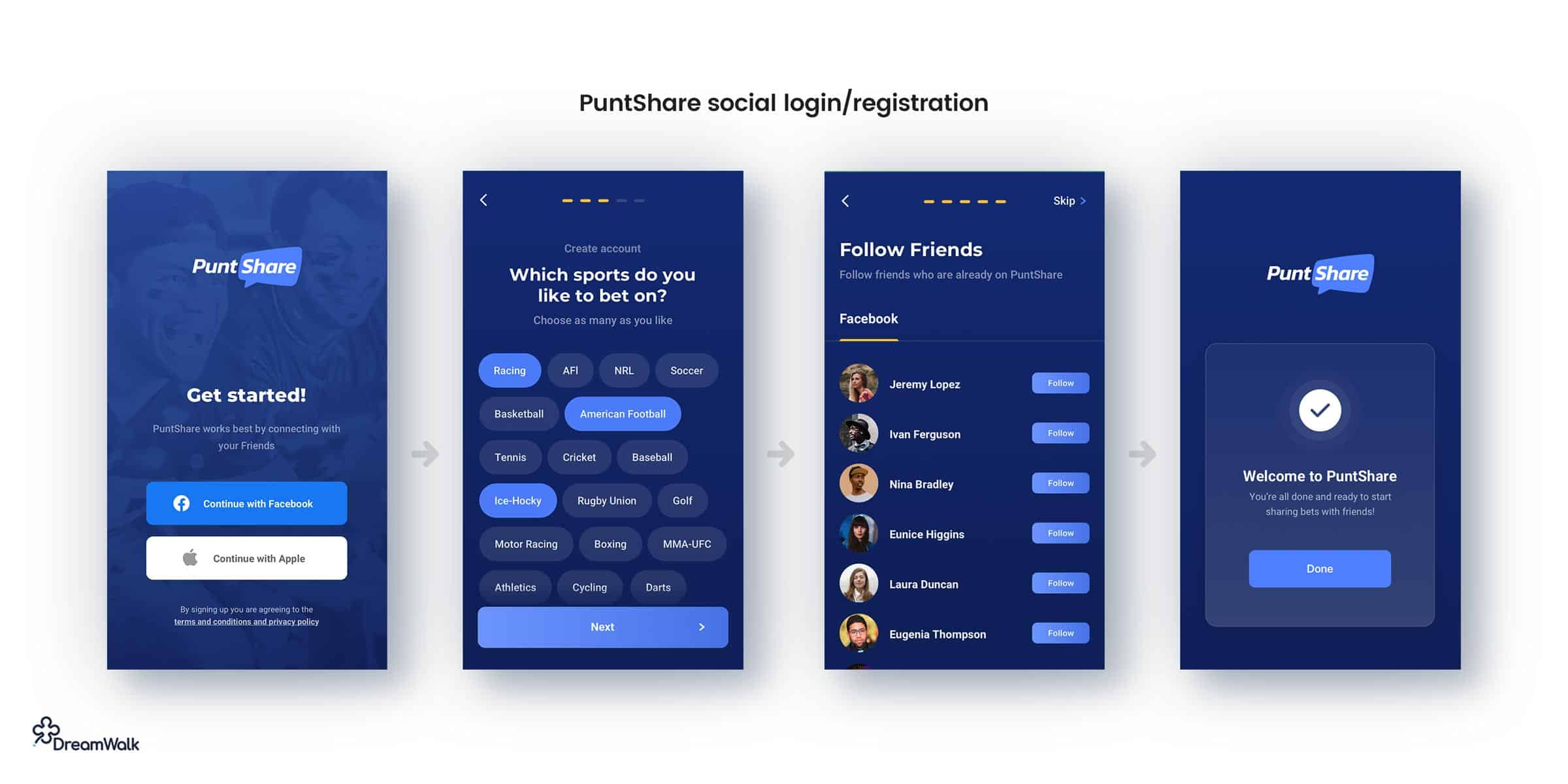PuntShare-app-social-login-registration-ux-ui-design